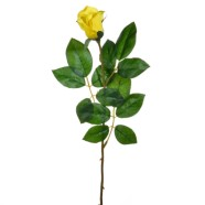Artificial Rose Bud Yellow Single Stem