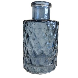 Vase Bottle Blue Glass With Diamond Design 9.3cm