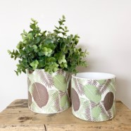 Planter Classic White Ceramic With Fern Design 11cm