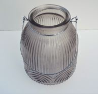 Candle Holder Glass Ridged Grey