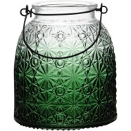 Lantern Green Glass With Decorative Finish 16cm