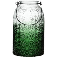 Lantern Green Glass With Decorative Finish 24cm