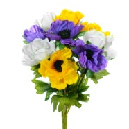 Anemone Bouquet With 9 Yellow/Purple/White Flowers