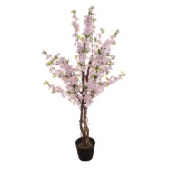 Blossom Tree Pink Silk Complete With Pot