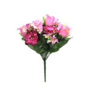 Artificial Flower Rose And Anemone Bush Pink 33cm