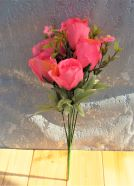 Artificial Flower Rose Bud Bush Dark Pink 35cm
