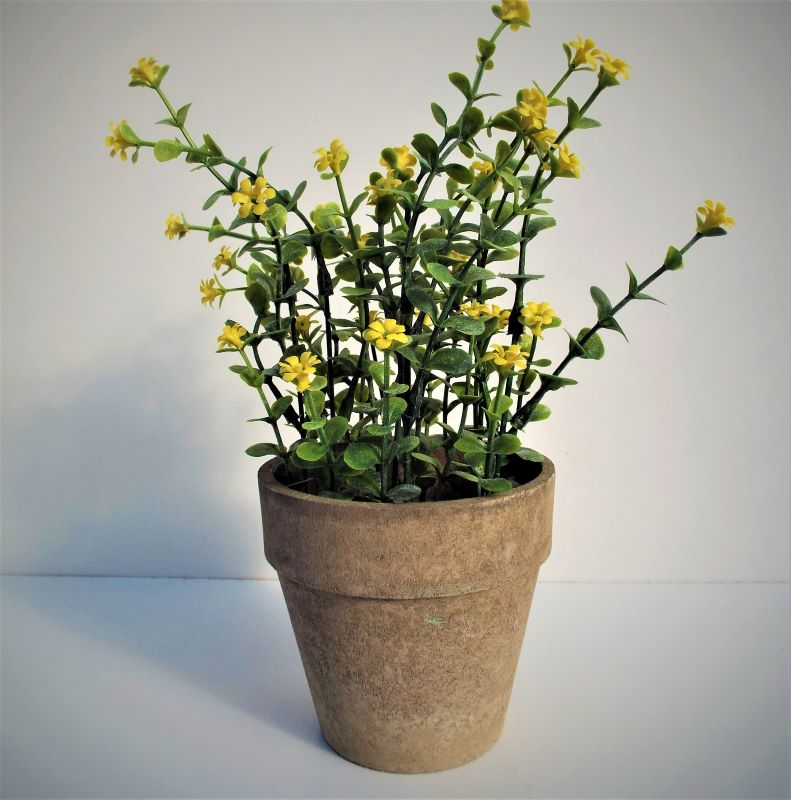 Artificial Potted Plant Yellow Flowers 26cm