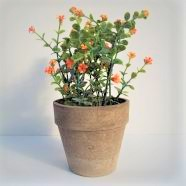 Artificial Potted Plant Orange Flowers 26cm