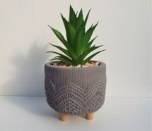 Artificial Succulent Plant In Grey Pot On 3 Legs