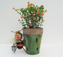 Garden Planter Galvanised Bee With A Tool Complete With Artificial Flower