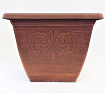 Planter Square Laurel Brushed Penny 30cm