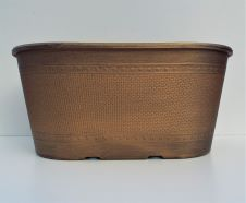 Garden Planter Low Oval 30cm Galvanised Gold