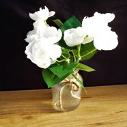 Vase Bottle White Rose In Glass With Gel Effect Water