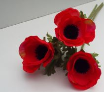 Artificial Anemone Red Single Stem x 3