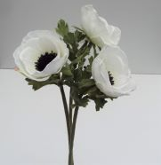 Artificial Anemone White Single Stem x 3