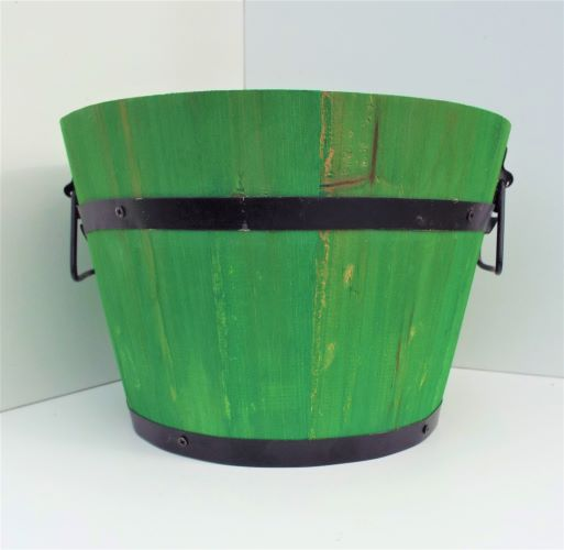 Planter Round Wooden Barrel Green 26cm