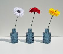 Vase Blue Bottles Display Complete With Chrysanthemums