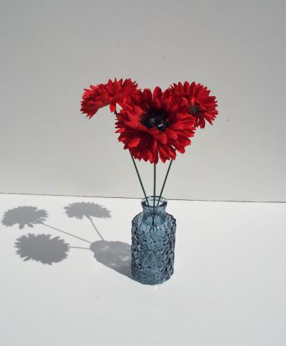 Vase Bottle Blue With Red Chrysanthemums
