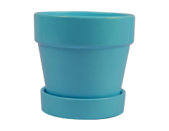 Planter Pot And Saucer Blue