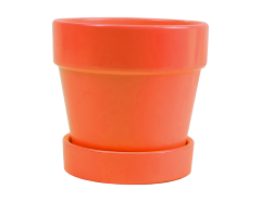 Planter Pot And Saucer Orange