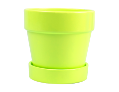 Planter Pot And Saucer Yellow