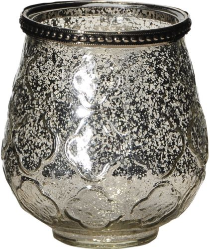 Candle Holder Glass Antique Silver 11cm