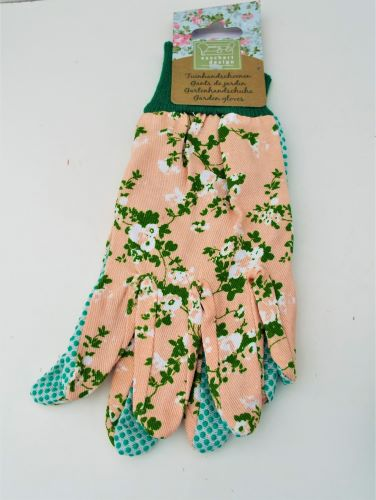 Garden Gloves With Rose Print Pink