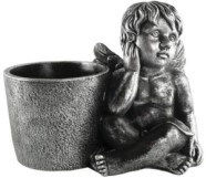 Planter Round Angel Silver