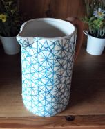 Jug Ceramic Crackle Glaze Checked Pattern Blue 19.5cm