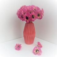 Artificial Flower Daisy Display With Vase