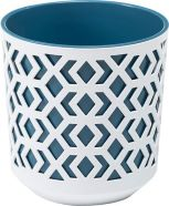 Planter Aztec Blue And White