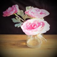 Vase Bottle Pink Ranunculus In Glass 23cm