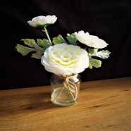 Vase Bottle White Ranunculus In Glass 23cm