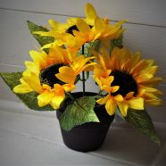 Artificial Sunflower With Pot 3 Large Heads