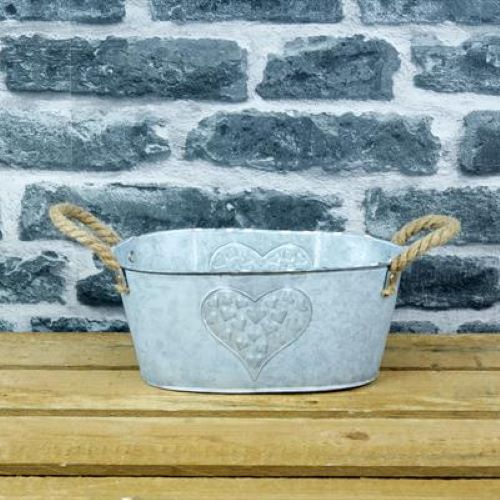 Trough Zinc Heart Design 24cm