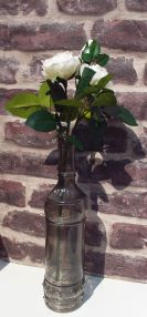 Vase Bottle Grey Glass Rose Display